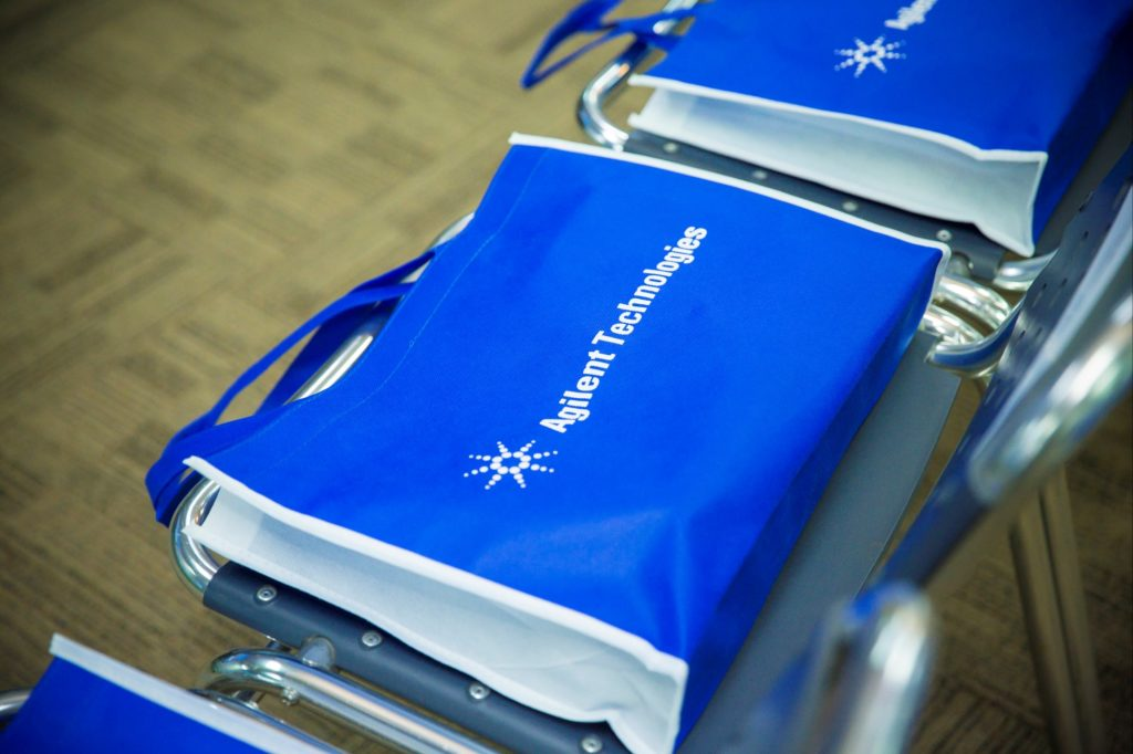 icube events_ideas launch 2016 event collateral agilent tote bag