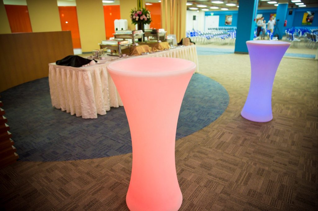 icube events_ideas launch 2016 led lighted cocktail table furniture with buffet catering line