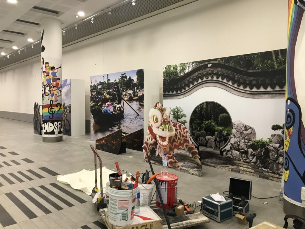 icube events_smu icon global village 2017 china mini backdrop and cutout structures set up
