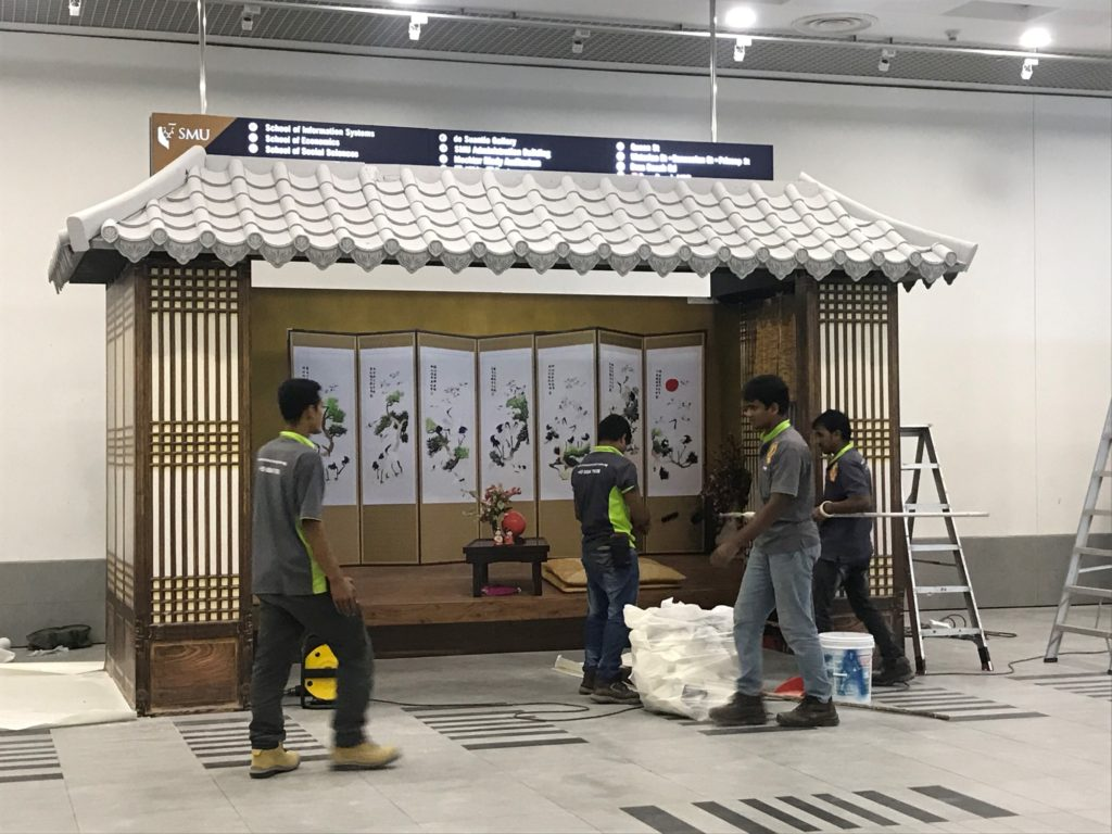 icube events_smu icon global village 2017 korean house structure set up
