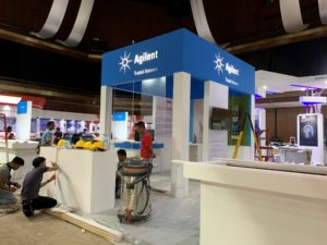 icube events_agilent labasia exhibition booth set up with backlit agilent logo