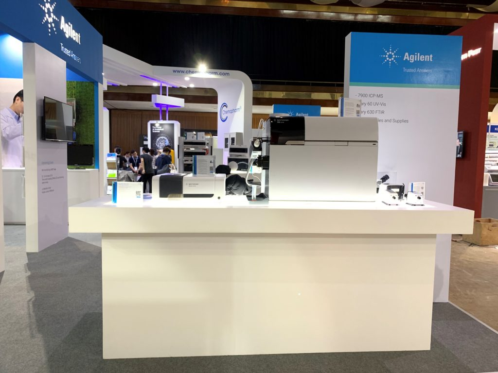 icube events_agilent labasia exhibition booth with equipment showcase
