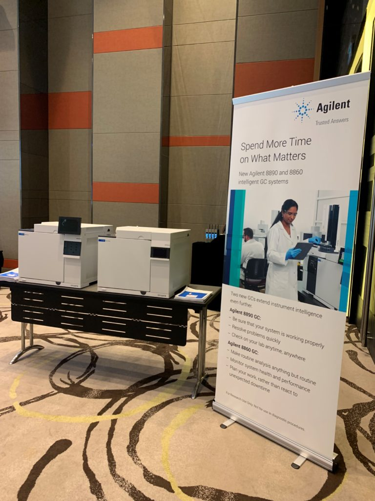 icube events_agilent laboratory innovations equipment showcase with pullup banner