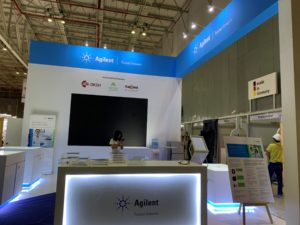 icube events_agilent analytica 2019 exhibition booth set up with led lighted table tops