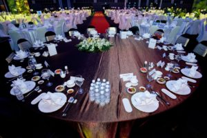 icube events_umcsg dinner and dance 2018 banquet round table setup with napkin fold design