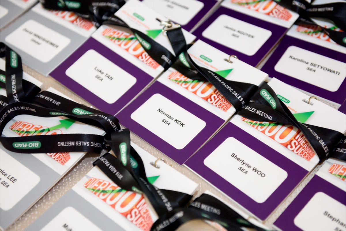 icube events_bio rad asia pacific sales meeting event collateral customised lanyard with name badge and event branding
