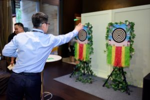 icube events_bio rad asia pacific sales meeting causal welcome dinner pre-dinner mini games dart board