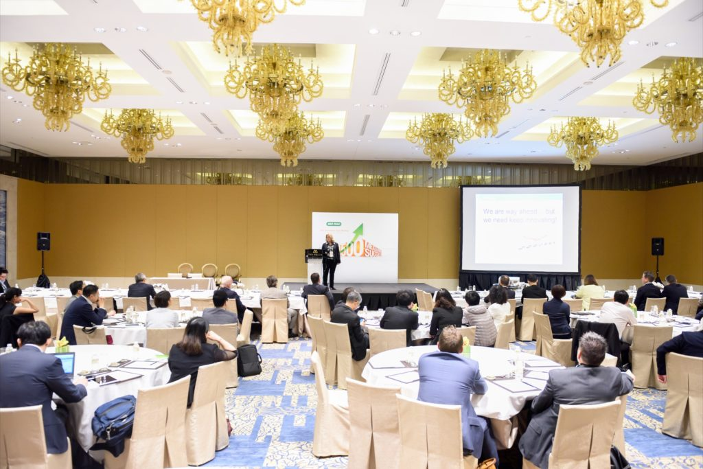 icube events_bio rad asia pacific sales meeting breakout room half cluster setting with stage and projector screen