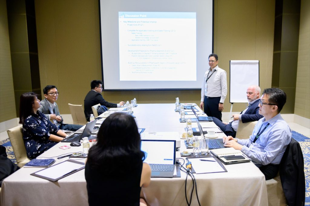 icube events_bio rad asia pacific sales meeting breakout room boardroom u-shape setting with screen projector