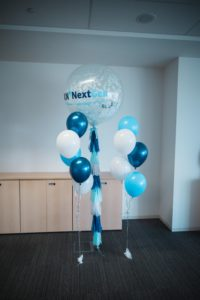 icube events_kuehne nagel next gen launch event blue and white balloon decoration