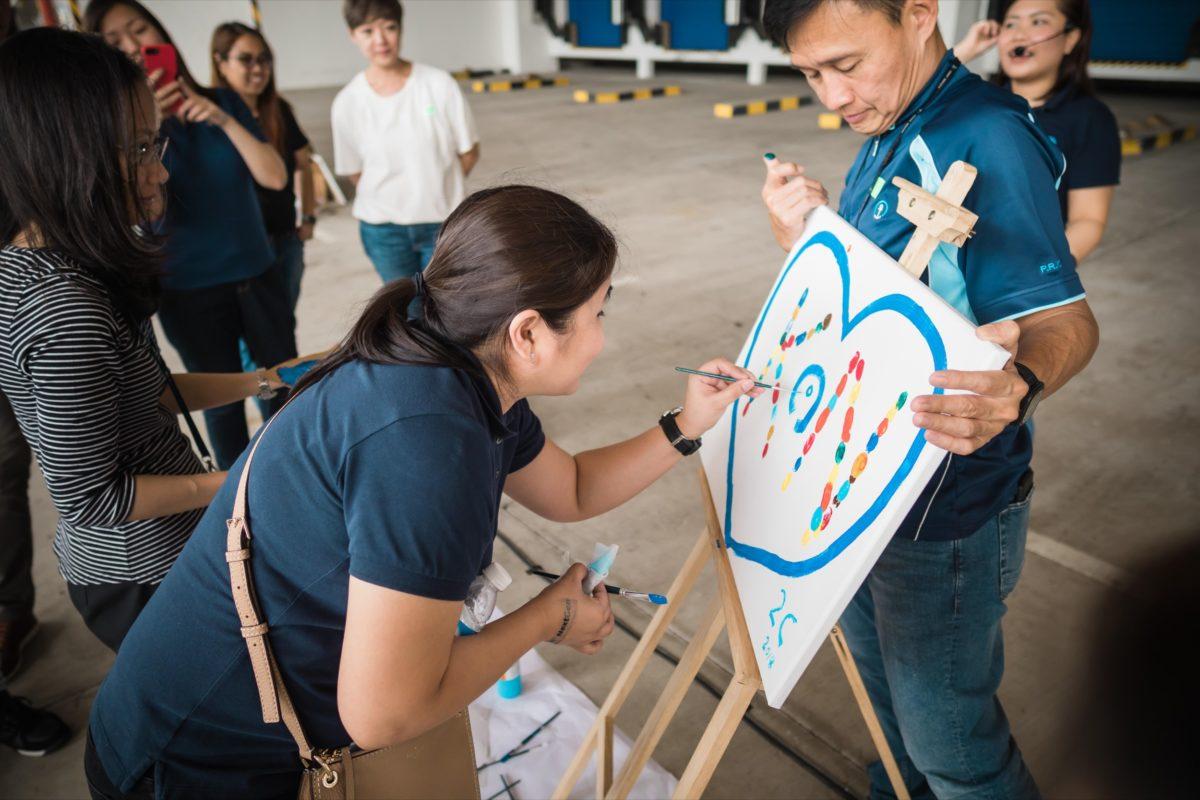 icube events_kuehne nagel next gen launch event teambuilding painting arts station
