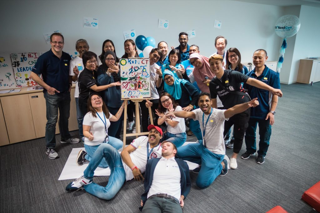icube events_kuehne nagel next gen launch event teambuilding painting arts station group photo