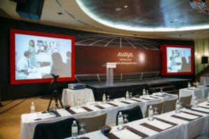 Full-length customised backdrop with seamless integration with LCD projector screen